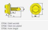 4,8x25 Stahl Sechskant-Bohrschraube mit angepresstem Bund und verzinkter Stahl-Scheibe mit EPDM-Dichtung